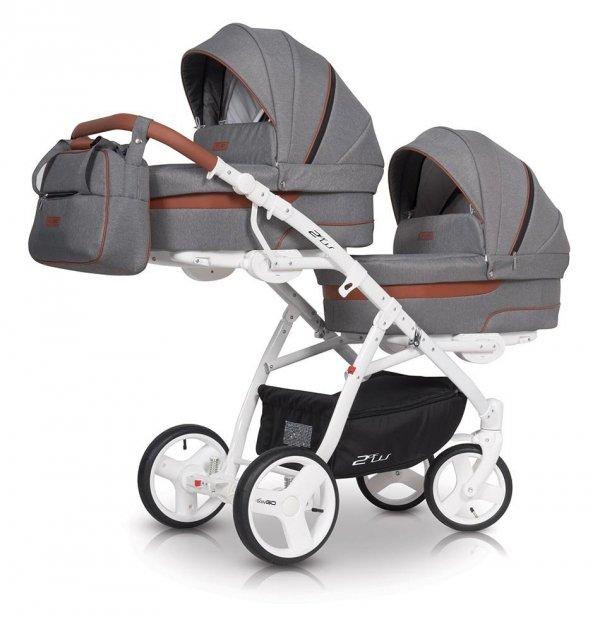 Zwillingskinderwagen/ Geschwisterwagen 2ofUs /Komplett-Set mit 2 Liegewannen und 2 Sportsitzen |Gestell in Weiß | DENIM/ Dunkelblau