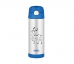 Kubek dla dzieci ze słomką Thermos FUNtainer 470 ml (stalowy/niebieski) motyw jeleń