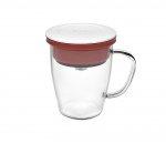 Kubek z zaparzaczem do kawy 350 ml PAO Duo Dripper (biało-czerwony)