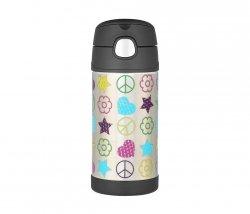 Kubek dla dzieci ze słomką Thermos FUNtainer 355 ml (stalowy/czarny) motyw free