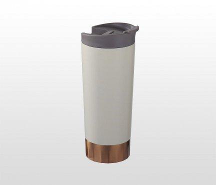 Kubek termiczny COPPER 510 ml (kremowy), miedziana izolacja