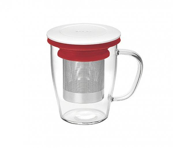 Kubek z zaparzaczem do herbaty 350 ml PAO Ming Infuser biało-czerwony