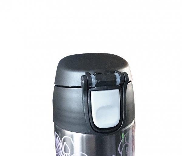 Kubek termiczny ze słomką Thermos Style 530 ml grafitowy/czarny motyw ametyst