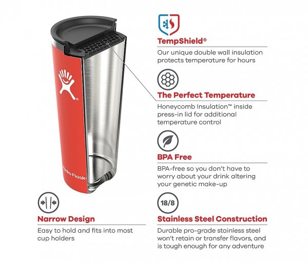 Kubek Tumbler Coaster Hydro Flask 650 ml czarny