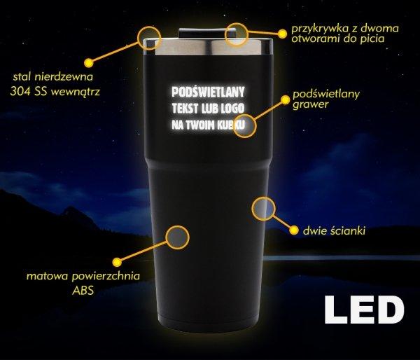 Kubek termiczny LED z podświetlanym grawerem 480 ml czarny