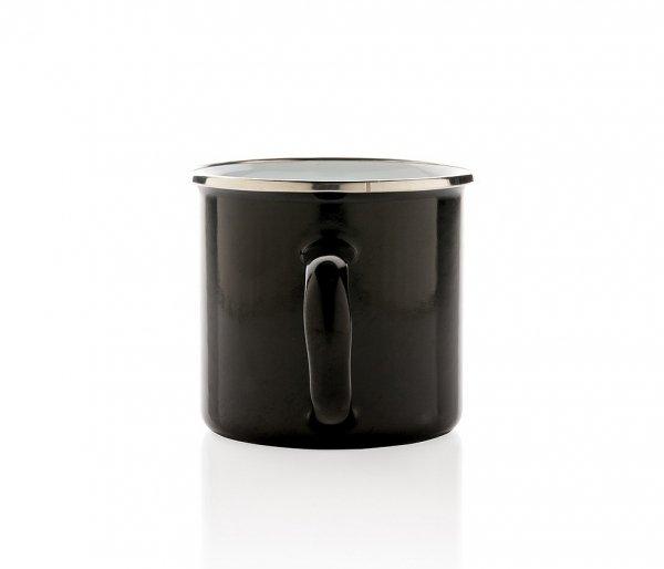Kubek tradycyjny emaliowany 350 ml EMO z uchem czarny