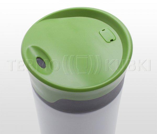 Kubek termiczny 430 ml TRAWIS (biały/zielony)