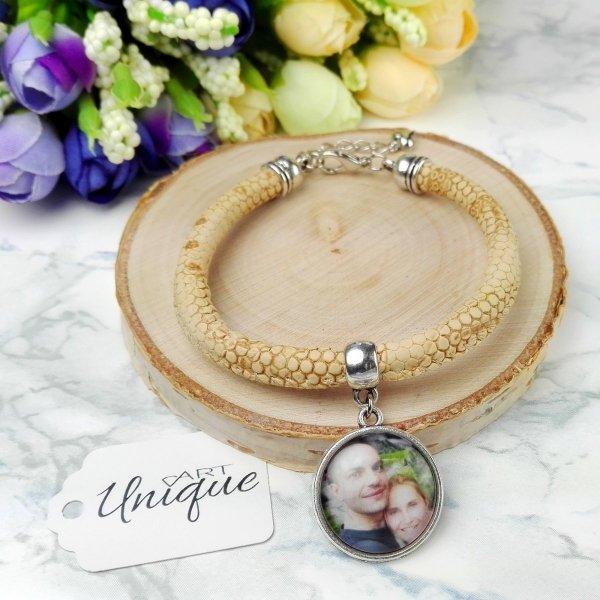 Zestaw bransoletek z Twoim zdjęciem • jaspis dalmatyńczyk, hematyt, kryształki
