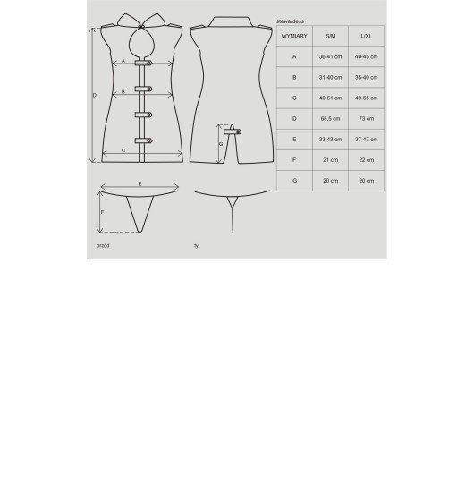 Stewardess kostium 3-częściowy L/XL