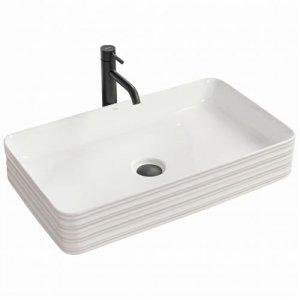 Umywalka ceramiczna nablatowa Mezo biała 66,5x37