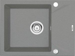 Zlewozmywak EVORA 1-komorowy z krótkim ociekaczem szary metalik