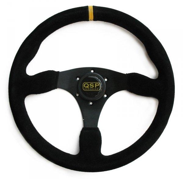 Kierownica zamszowa 3 ramienna QSP płaska czarna