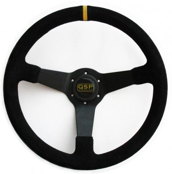 Kierownica zamszowa 3 ramienna QSP 70 czarna