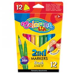 FLAMASTRY COLORINO KIDS PĘDZELKOWE DWUSTRONNE 12 KOLORÓW