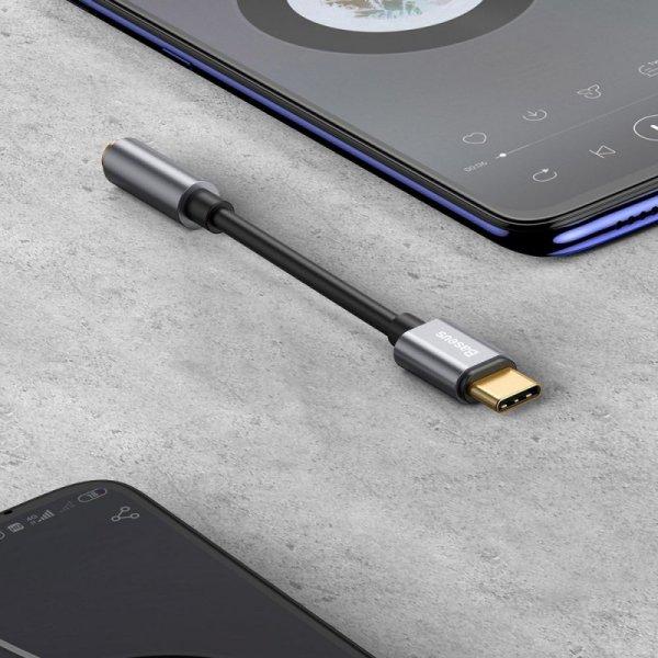 Baseus L54 adapter do słuchawek przejściówka z USB-C na gniazdo audio jack 3.5mm DAC 24 bit 48 KHz czarny (CATL54-01)