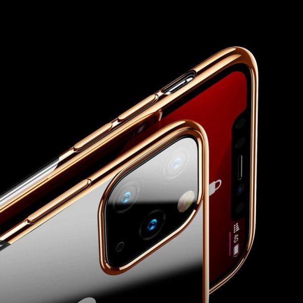 Baseus Glitter Case przezroczyste etui pokrowiec iPhone 11 Pro czarny (WIAPIPH58S-DW01)