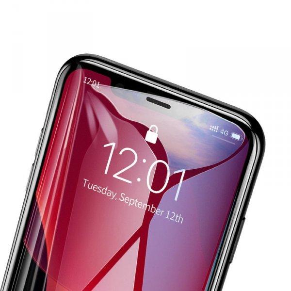 Baseus zestaw 2x szkło na cały ekran Full Screen z ramką 0.3mm 9H iPhone 11 Pro / iPhone XS / iPhone X + pozycjoner czarny (SGAP