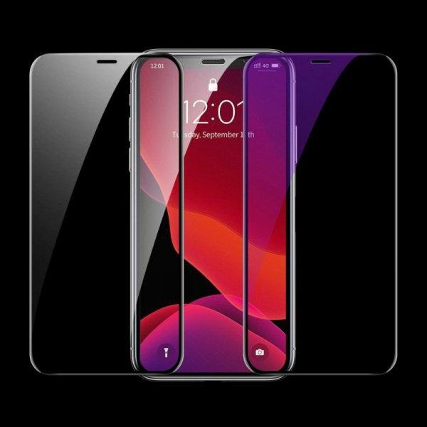 Baseus szkło na cały ekran Full Screen z ramką 0.23mm 9H Anti-bluelight iPhone 11 Pro / iPhone XS / iPhone X + pozycjoner czarny
