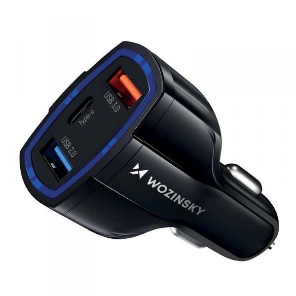 Wozinsky ładowarka samochodowa szybkie ładowanie Quick Charge 3.0 QC3.0 2xUSB / USB Typ C czarny (WCC-01)