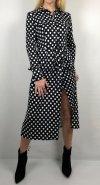 Koszulowa Sukienka Midi Kropki Black