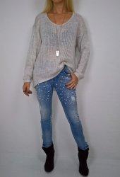Włoski Sweter Oversize Beż
