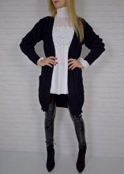 Długi Sweter Kieszenie Czerń