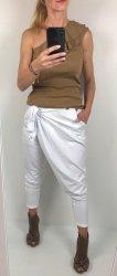 Białe Dresowe Spodnie Bawełna