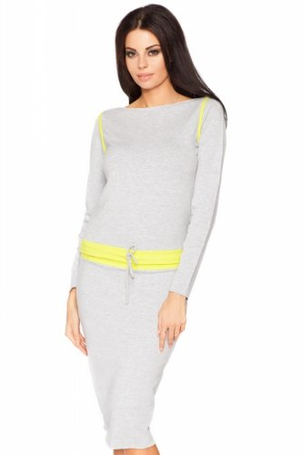 Bluza Damska Model Milena 10 Light Grey/Limonka