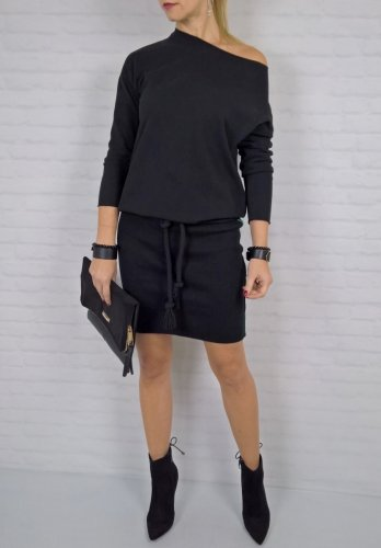 Czarna Dresowa Sukienka Ściągacz By o la la