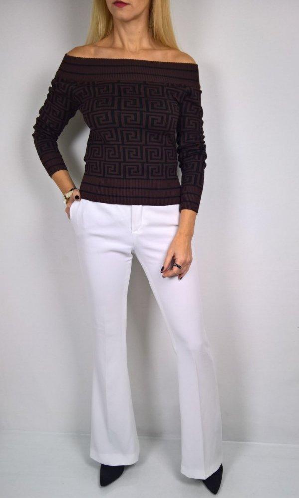 Włoski Sweter Labirynt Brąz