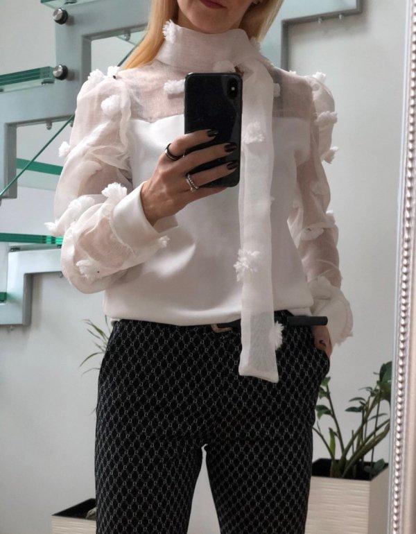 Włoska Biała Bluzka Wiązanie