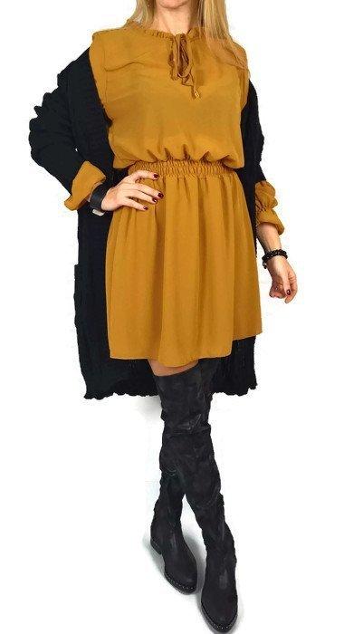 Sukienka Milady Wiązanie Musztarda