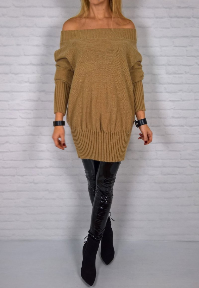 Sweter Tunika Ściągacz Karmel