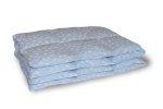 Kołdra puchowa 200x220 cm Niebieska w białe piórka. Kołdra z puchu gęsiego Polpuch.