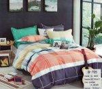 Pościel Mengtianzi 160x200 Kolorowa w Kratkę 100% bawełna wz B-705