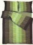 Satynowa pościel Andropol 200x220 100% bawełna - Zielona w pasy