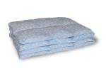 Kołdra puchowa 160x200 cm Niebieska w białe piórka. Kołdra z puchu gęsiego Polpuch.