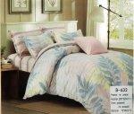 Pościel Mengtianzi Szara - Różowa w Liście 200x220 cm 100% bawełna B-632
