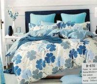 Pościel Mengtianzi Ecru - Niebieska w Kwiaty 200x220 cm 100% bawełna B-670