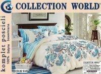 Pościel Collection World 160x200 Kremowa - Niebieska 100% bawełna wz 610