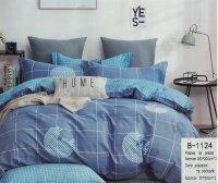 Pościel Mengtianzi 160x200 Niebieska w Kratkę 100% bawełna wz B-1124