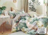 Pościel Collection World 160x200 Szara w Liście 100% bawełna wz 1440