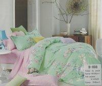 Pościel Mengtianzi Seledynowa - Różowa w Kwiaty 160x200 100% bawełna B-698