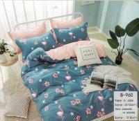 Pościel Mengtianzi 140x200 Niebieska - Różowa we Flamingi 100% bawełna wz B-960. Poście 140x200 we Flamingi