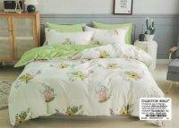 Pościel Collection World 200x220 Kremowa - Zielona w Kwiaty 100% bawełna wz 1433