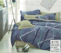 Pościel Mengtianzi 160x200 Grafitowa - Oliwkowa 100% bawełna wz B-1101