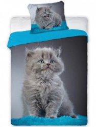 Pościel młodzieżowa 3D 160x200 z Kotem Carbotex Faro 100% bawełna. Pościel 3D z kotkiem 160x200 Best 010