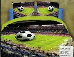 Pościel 3D Piłka Nożna Stadion 160x200 . Satnyna Bawełniana JYF wz. Piłka 01