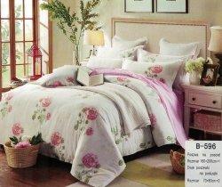 Pościel Mengtianzi Biało - Różowa w Kwiaty 160x200 100% bawełna B-596
