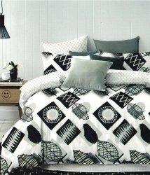 Pościel Cotton World 200x220 Biało - Czarna 100% bawełna